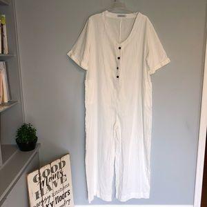 MISSLOOK White Shirt Sleeve Side Pocket Jumpsuit